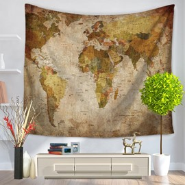Vintage Style World Map Pattern Decorative Hanging Wall Tapestry