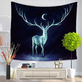 Magical Wapiti Under Galaxy Space and Moonlight Decorative Hanging Wall Tapestry