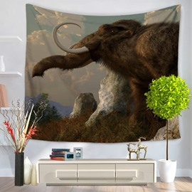 Wild Elephant Walking on Field Pattern Decorative Hanging Wall Tapestry