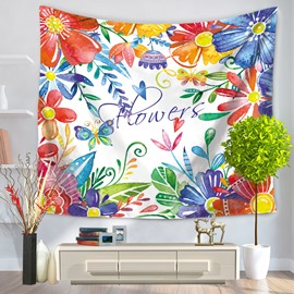 Colorful Flowers Edged Design Pastoral Style Decorative Hanging Wall Tapestry