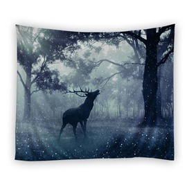 Mandala with Deer Shape Pattern Ethnic Style Decorative Hanging Wall Tapestry