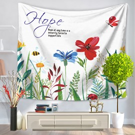 Colorful Flowers and Red Butterflies Pattern Pastoral Style Decorative Hanging Wall Tapestry