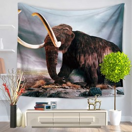 Wild Elephant with Long Ivory Pattern Decorative Hanging Wall Tapestry