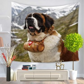 Saint Bernard Dog on Mountain Looking Ahead Pattern Decorative Hanging Wall Tapestry