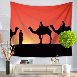 Sunset Desert with Traveling Camels and People Decorative Hanging Wall Tapestry