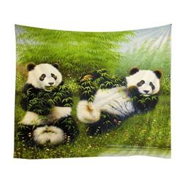 Cute Panda Eating Bamboos Pattern Decorative Hanging Wall Tapestry