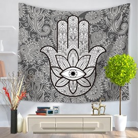 Gray Mandala Pattern and Floral Eye Exotic Style Decorative Hanging Wall Tapestry