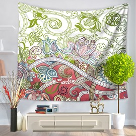 Sketching Art Flowers Pattern Fresh Style Decorative Hanging Wall Tapestry