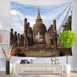 Indian Buddhism and Buddha's Figure Decorative Hanging Wall Tapestry