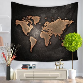 Bronze Continent and Black Ocean Pattern Decorative Hanging Wall Tapestry