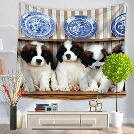 Four Cute Puppy Saint Bernard Dogs Pattern Decorative Hanging Wall Tapestry