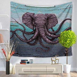 Elephant with Many Noses Creative Pattern Decorative Hanging Wall Tapestry