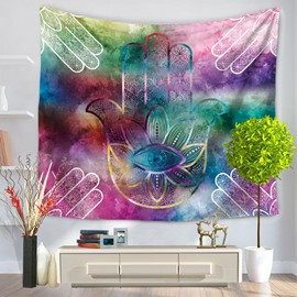 Colorful Palms and Eye Pattern Ethnic Style Decorative Hanging Wall Tapestry