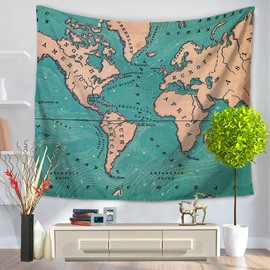 World Map with Brown Continents and Green Oceans Decorative Hanging Wall Tapestry