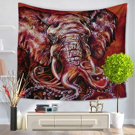 Red Elephant Shape with Octopus Legs Pattern Decorative Hanging Wall Tapestry