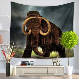 Brown Elephant with Golden Ivories Pattern Decorative Hanging Wall Tapestry
