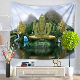 Figure of Buddha and Guard Pattern Religious Style Decorative Hanging Wall Tapestry