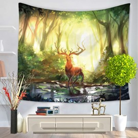 Forest Wapiti Pattern Magical Atmosphere Oil Painting Decorative Hanging Wall Tapestry