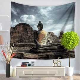Buddha Figure and Sky Pattern Religious Style Decorative Hanging Wall Tapestry
