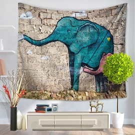 Blue Elephant and Its Son Graffiti Pattern Ethnic Style Decorative Hanging Wall Tapestry