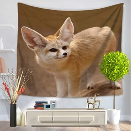 Super Cute Yellow Wildlife Fennec Fox Standing on Field Decorative Hanging Wall Tapestry