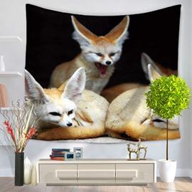 Three Yellow Wildlife Fennec Fox Black Decorative Hanging Wall Tapestry