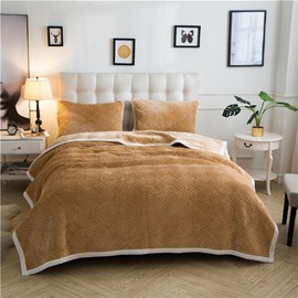 Solid Camel Knot Pattern Super Warm Fluffy Thick Bed Blanket