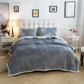 Solid Gray Knot Pattern Super Warm Fluffy Thick Bed Blanket