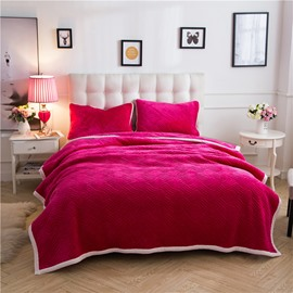 Solid Bright Red Knot Pattern Super Warm Fluffy Thick Bed Blanket