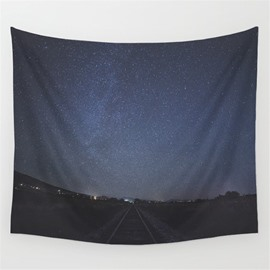 Galaxy Universe and Road to Calm Village Pattern Decorative Hanging Wall Tapestry