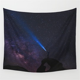 Galaxy Stars and Man's Laser Light Conflicts Pattern Decorative Hanging Wall Tapestry