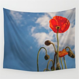 Orange Corn Poppy with Blue Sky Pattern Decorative Hanging Wall Tapestry