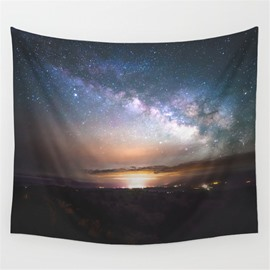 Sunset Universe Stars and Lake Reflection Pattern Decorative Hanging Wall Tapestry