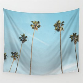 Cocos Nucifera Reaching to Light Blue Sky Pattern Decorative Hanging Wall Tapestry