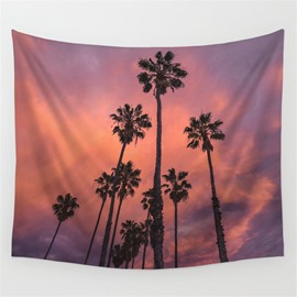 Tall Coconut Tree and Burning Cloud Pattern Decorative Hanging Wall Tapestry