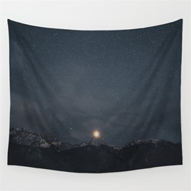 Peaceful Galaxy Space and Mountain Pattern Decorative Hanging Wall Tapestry