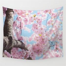 Pink Sakura Blossom Pattern Decorative Hanging Wall Tapestry