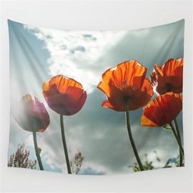 Orange Corn Poppies under Sunshine Pattern Decorative Hanging Wall Tapestry