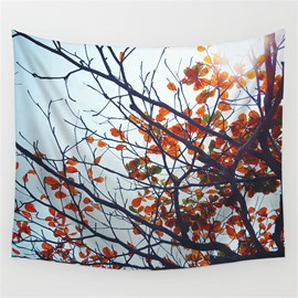 Branches and Small Red Leaves Pattern Decorative Hanging Wall Tapestry