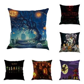 Happy Halloween Pumpkin Lantern Carnival Decorative Square Linen Throw Pillow