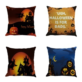 Halloween Wizard and Pumpkin Pattern Decorative Square Throw Pillow