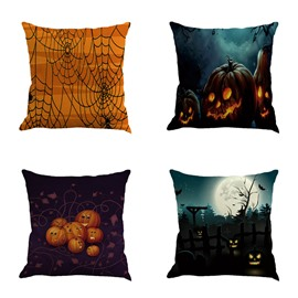 Happy Halloween Pumpkin and Spider Web Square Linen Throw Pillow