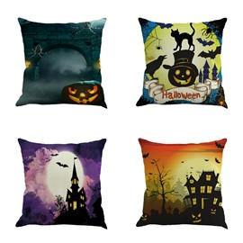 Happy Halloween Castle and Pumpkin Decorative Square Throw Pillow