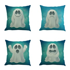 Making Faces White Cute Monster Decorative Square Linen Throw Pillow