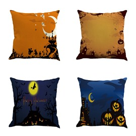 Happy Halloween Four Pattern to Choose Square Linen Throw Pillow
