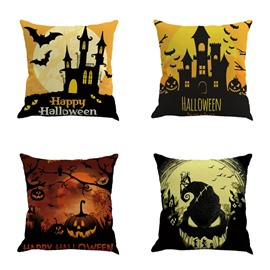Halloween Festival Night Bat and Pumpkin Decorative Linen Throw Pillow