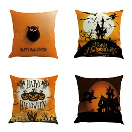 Halloween Festival Owl and Pumpkin Decorative Linen Throw Pillow