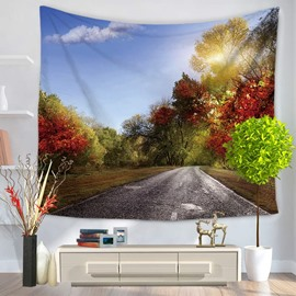 Autumn Red Woods and Highway Pattern Decorative Hanging Wall Tapestry