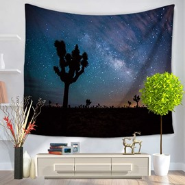 Galaxy Starry Blue Sky and Desert Forest Decorative Hanging Wall Tapestry