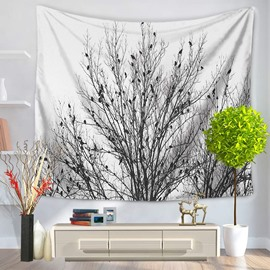 Cluster of Tree Branches with Many Birds White Decorative Hanging Wall Tapestry